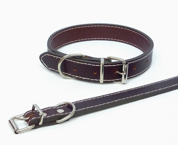 Traditional plain brown quality dog collar in genuine leather