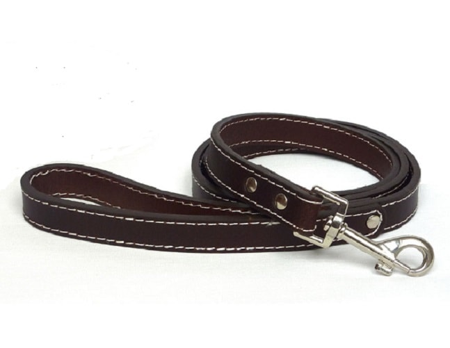 Plian Brown genuine leather dog lead with loop handle in a traditional style