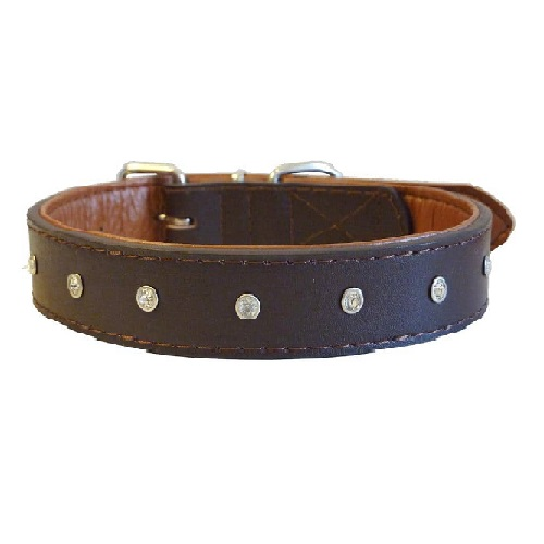 Diamante style brown dog collar made with leather and faux leather