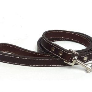 Plain Brown Leather Dog Lead with loop handle in a traditional style