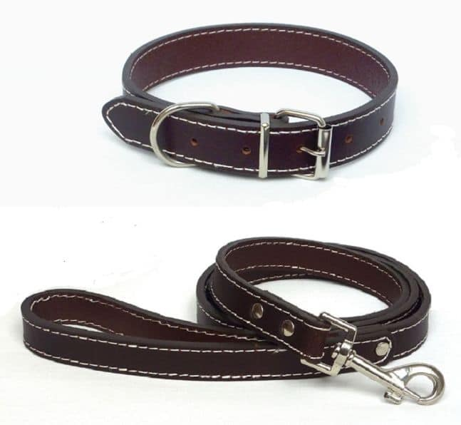 Plain Brown Dog Collar and Lead made from genuine leather.