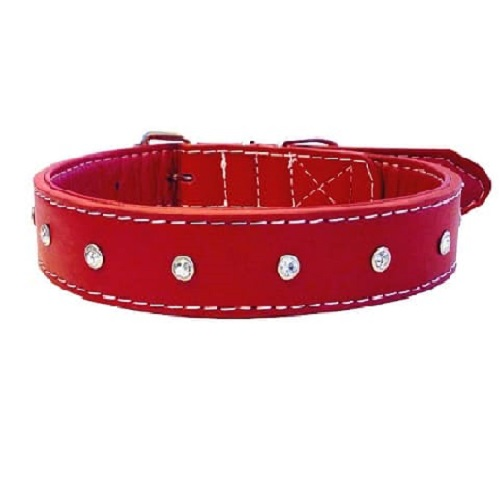Diamante dog collar red made with leather and faux leather