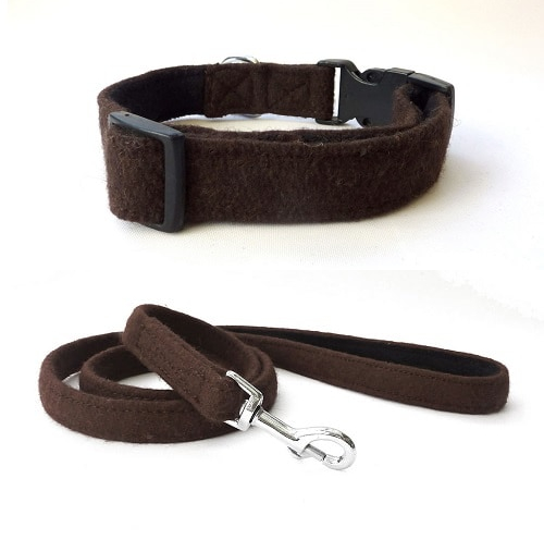 Brown Wool Dog Collar and Lead. Hailey and Oscar