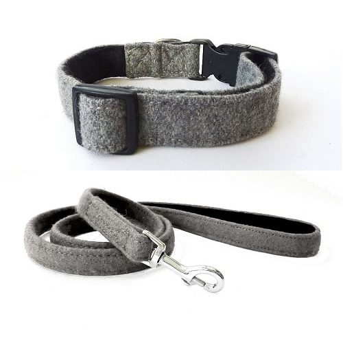 Grey Wool Dog Collar and Lead. Hailey and Oscar
