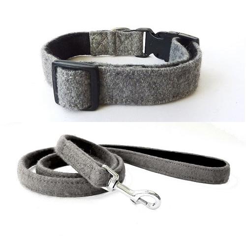 Grey Wool Dog Collar and Lead. Hailey and Oscar