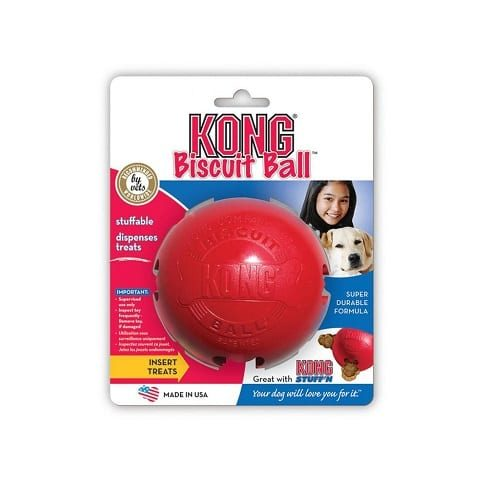 Dog Treat Ball Kong- Biscuit Holder provides hours of fun. Stuff with lots of treats