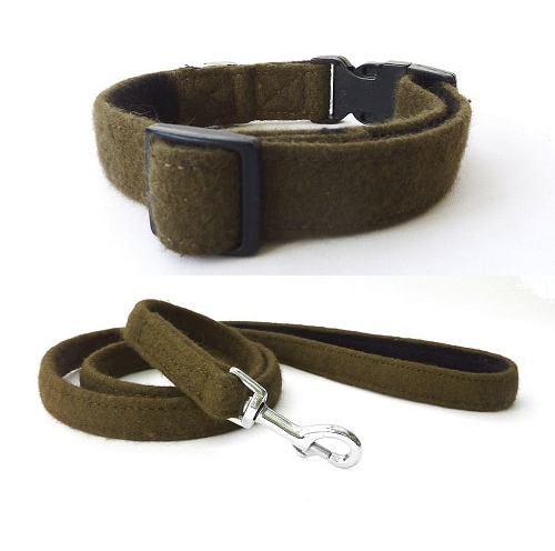 Khaki Wool Dog and Lead. Hailey and Oscar