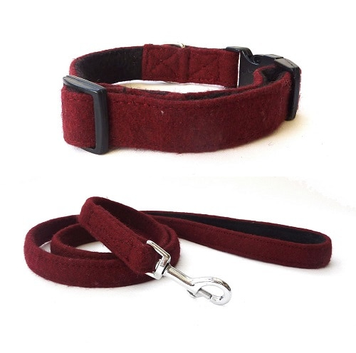 Maroon Wool Dog Collar and Lead. Hailey and Oscar