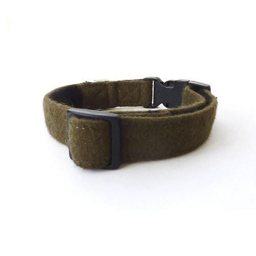 Soft Wool Dog Collar Khaki Green Hailey and Oscar