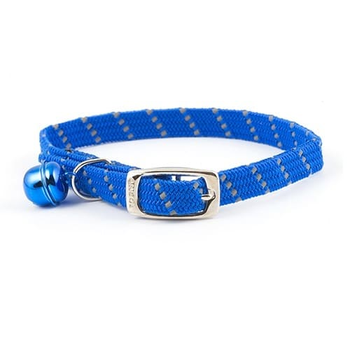 Reflective cat collar in blue, elasticated softweave by Ancol