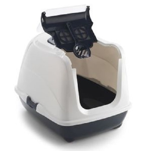 Covered cat litter tray made by Moderna with charcoal filter and easy to clean flip top