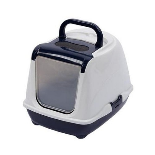Covered cat litter tray made by Moderna with flap opening