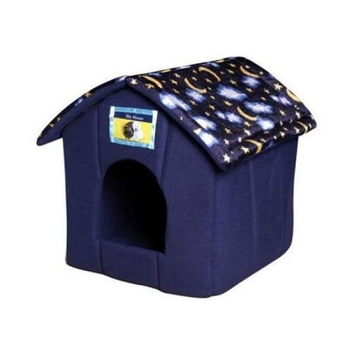 Cat House Bed with a moon and stars design