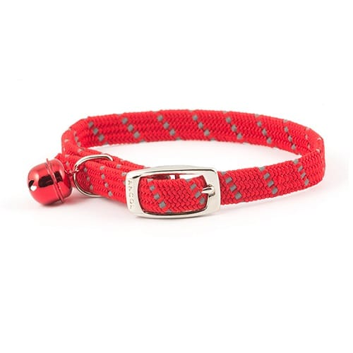 Reflective cat collar in red, elasticated softweave by Ancol